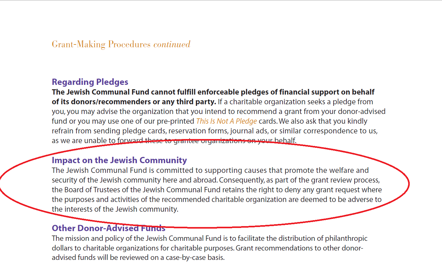 Grantmaking guidelines of UJA-Federation's Jewish Communal Fund.